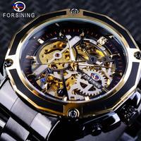 FORSINING メンズ 腕時計 ウォッチ 自動巻き 機械式 スケルトン スチームパンクスタイル 男性用 ビジネス カジュアル ファッション (kk04517)