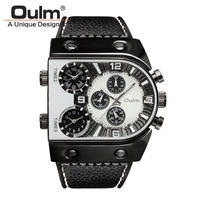 腕時計  メンズ  クオーツ  レザーバンド アナログ Oulm ホワイト    (kk04020)