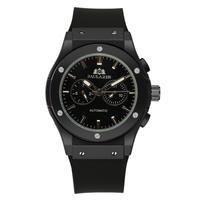 PAULAREIS クロノグラフ メカニカル 機械式 ジュネーブ 腕時計 レザーストラップ ラバーストラップ メンズ 送料無料 Black 1(kk00877)