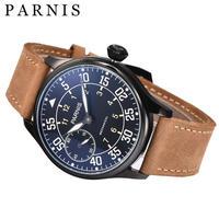 44mmの男性機械式時計手風機械式腕時計Parnisシルバーブラックゴールドケース防水発光手巻き時計 black black dial