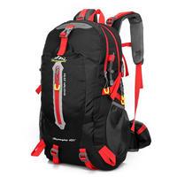 男女用 40Lバックパック 登山バックパック 男性女性 防水旅行 ハイキングラップ トップデイパック トレッキング登山リュックサック(kk04087BlackRed)