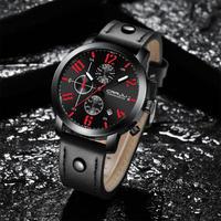 CRRJU メンズ 腕時計クリエイティブ クォーツ レザー クロノグラフ ビジネス カジュアル スポーツ ウォッチ(kk04559)