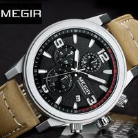 MEGIR メンズ 腕時計 ウォッチ クォーツ式 ミリタリー クロノグラフ ルミナスハンズ 防水 男性用 スポーツ カジュアル ビジネス 箱無し(OPP BAG)(kk04618)
