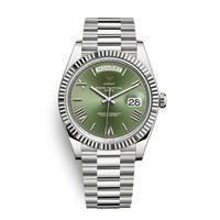 メンズ腕時計 アナログ 高級ブランド メタリック レトロ アンティーク カレンダー ステンレス 防水機能 グリーン&シルバー色(kk04041)