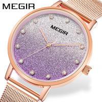 MEGIR レディース 腕時計 ステンレススチール メッシュストラップ カジュアル ラグジュアリー ドレスウォッチ 通勤 通学 ビジネス(kk04632)