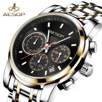 AESOP メンズ クォーツ 腕時計 ステンレス ショック耐性 防水 普段使い ビジネス 通勤 通学 カジュアル ウォッチ(kk04575)