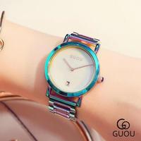 GUOU レディース 腕時計 カラフル ステンレス ファッション ウォッチ 通勤 通学 カジュアル(kk04607)