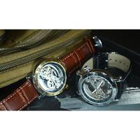 SHENHUA メンズ 腕時計 フルスケルトン 機械式上時計 ゴールドトゥールビヨン 自動巻き スケルトン 革 バンド (kk00731)