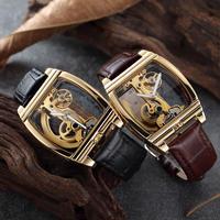 SHENHUA メンズ 腕時計 スケルトン レザー ビジネス スポーツ 透明 自動機械式 時計 ウォッチ(kk04551)