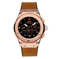 PAULAREIS クロノグラフ メカニカル 機械式 ジュネーブ 腕時計 レザーストラップ ラバーストラップ メンズ 送料無料 Rose Gold 2 Leather(kk00873)