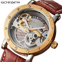 Gorben メンズ 腕時計 ウォッチ 自動巻き 機械式 レザー スケルトン 男性用 ヴィンテージ ファッション カジュアル ビジネス 箱無し 時計のみ(kk04555)