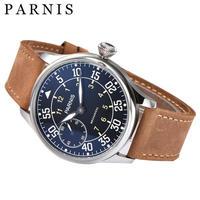 44mmの男性機械式時計手風機械式腕時計Parnisシルバーブラックゴールドケース防水発光手巻き時計 silver black dial