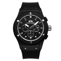 PAULAREIS クロノグラフ メカニカル 機械式 ジュネーブ 腕時計 レザーストラップ ラバーストラップ メンズ 送料無料 Black 2(kk00879)