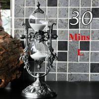 砂時計 30分計 Lサイズ 回転式 クラシカル デザイン アンティーク風 ヴィンテージ 亜鉛合金 回転砂時計 砂タイマー ホーム オフィス デスク 装飾 クラフト置物(kk04171)
