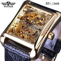 T-WINNER メンズ 腕時計 ウォッチ 自動巻き 機械式 スケルトン 防水 長方形 四角 男性用 レトロ カジュアル ファッション ビジネス時計(kk04625)
