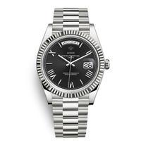 メンズ腕時計 アナログ 高級ブランド メタリック レトロ アンティーク カレンダー ステンレス 防水機能 ブラック&シルバー色(kk04037)