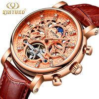 KINYUED メンズ 腕時計 自動巻き ムーンフェイズ トゥールビヨン スケルトン レザー ビジネス 通勤 通学 シンプル(kk04662)