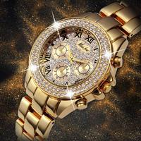 MISSFOX レディース 腕時計 ウォッチ クォーツ式 ラグジュアリー フェイククロノグラフ ローマ数字 18K ゴールド 防水 女性用 パーティー キラキラ(kk04763)