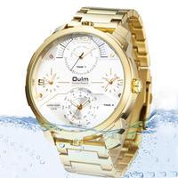 Oulm メンズ 腕時計 クォーツ時計 フルスチールストラップ ビッグダイヤル 4タイムゾーン ビジネス カジュアル ウォッチ(kk04571)