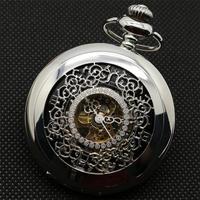 懐中時計 メカニカル メンズ レディース ボックス ネックレスチェーン レザーチェーン(kk04538)
