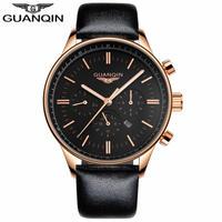 レロジオmasculino GUANQINメンズ腕時計トップブランドの高級軍事スポーツクォーツ時計男性革ストラップ腕時計男性時計 Black gold black B