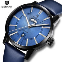 BENYAR メンズ 腕時計 ウォッチ クォーツ カレンダー レザーバンド 防水 男性用 ビジネス カジュアル ファッション レロジオ 海外ブランド(kk04598)