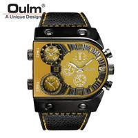 腕時計  メンズ  クオーツ  レザーバンド アナログ Oulm イエロー(kk04022)