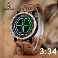 BOBO BIRD メンズ 腕時計 LED ウッドウォッチ デジタル時計 ナイトビジョン 木製 防水 男性用  シンプル カジュアル ファッション P13 送料無料(kk04669)