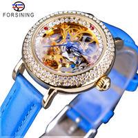 Forsining レディース 腕時計 ウォッチ 自動巻き 機械式 ダイヤモンド ゴールド フラワースケルトン 女性用 ファッション ラグジュアリー(kk04554)