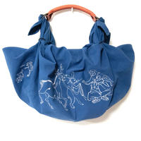 尾道帆布ふろしきバッグ鳥獣戯画刺繍ネイビー