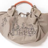 帆布ふろしきバッグ鳥獣戯画刺繍ベージュ