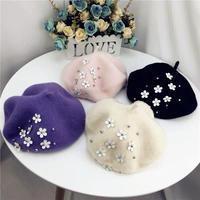 フラワーベレー帽