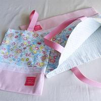 バッグ&うわばき袋セット女の子用・マーメイド・水色xピンク