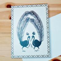 インド先住民族アートギフトカード(大きめ)ワルリ画・2羽のクジャク