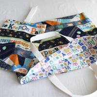 バッグ&うわばき袋セット女の子用・デニム風POP柄