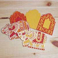 インド紙製品・象さん型ミニギフトカード4組セット
