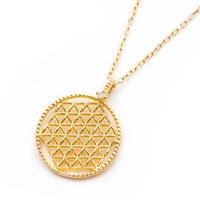 「図形」の持つ不思議なパワー!全ての生命のあらゆる側面が含まれているシンボル!豪華「ダイヤモンド」入り!神聖幾何学「フラワーオブライフ」K18開運ジュエリーアミュレットペンダントTOP♡