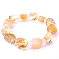 キラッキラの輝き…!キラメキの☆ゴールデンエナジーをまとってミラクル☆金運アップを目指したい…!宝石質「シトリン」×キューとなCUBE型「カーネリアン」happy金運リッチブレス♥️