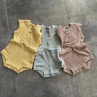summer rib knit rompers