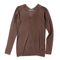 18G V NECK SILK 100 PULLOVER (DARK BROWN)