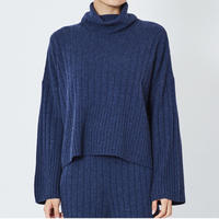 CASHMERE WIDE RIB STICH TURTLE KNIT カシミヤ100%ワイドリブタートル(NAVY)