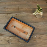 A005 角型青釉盆栽鉢/和鉢 銘有