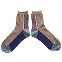 Leaf line socks/ブラウン