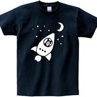 宇宙へ行く猫シンプルver Tシャツ【ネイビー】