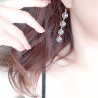 痛くない水晶イヤリング/ピアス