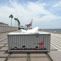 コンテナ型ティッシュケース ライトグレー(サバンナ&ガントリークレーン)