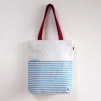 KOBE WIND BLUE ボーダートートバッグ (高島帆布)(ジップトップ)オフホワイト