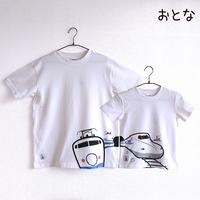 おとなTシャツ ホワイト(新幹線N700系&0系)