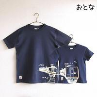 おとなTシャツ ブルー(JR西日本 普通&快速電車)