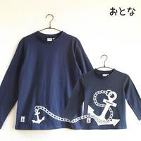 おとな長袖Tシャツ ブルー (大小イカリ)